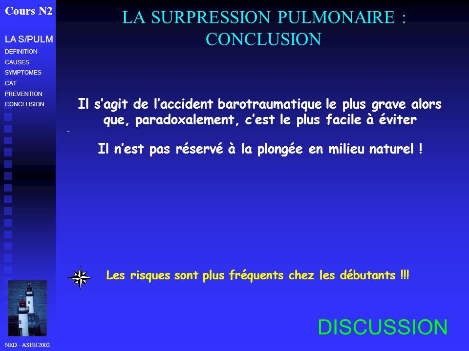 NED - ASEB 2002 LA SURPRESSION PULMONAIRE : CONCLUSION Cours N2 LA S/PULM DEFINITION CAUSES SYMPTOMES CAT PREVENTION CONCLUSION Il sagit de laccident