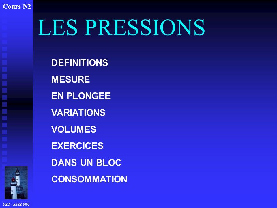 NED - ASEB 2002 LES PRESSIONS Cours N2 DEFINITIONS MESURE EN PLONGEE VARIATIONS VOLUMES EXERCICES DANS UN BLOC CONSOMMATION