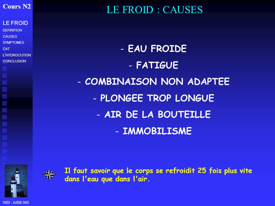 NED - ASEB 2002 LE FROID : CAUSES Cours N2 LE FROID DEFINITION CAUSES SYMPTOMES CAT LHYDROCUTION CONCLUSION - EAU FROIDE - FATIGUE - COMBINAISON NON A