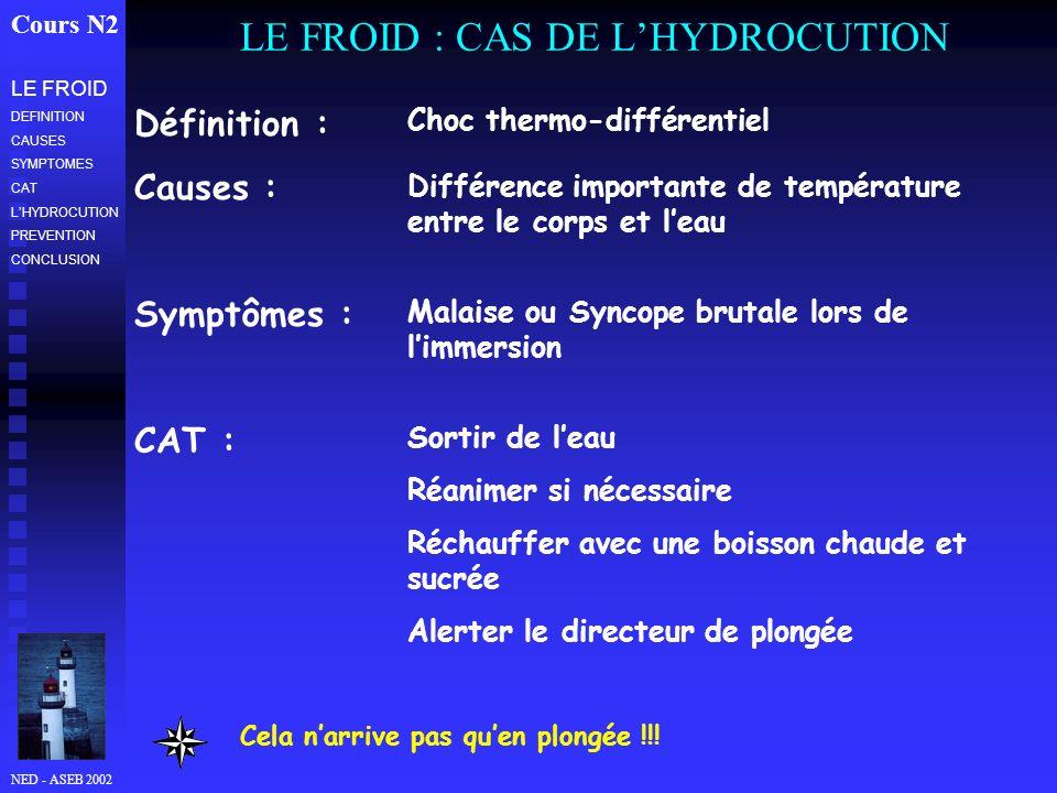 NED - ASEB 2002 LE FROID : CAS DE LHYDROCUTION Cours N2 Prévention Interrompre la plongée dès que lun des membres de la palanquée fait signe