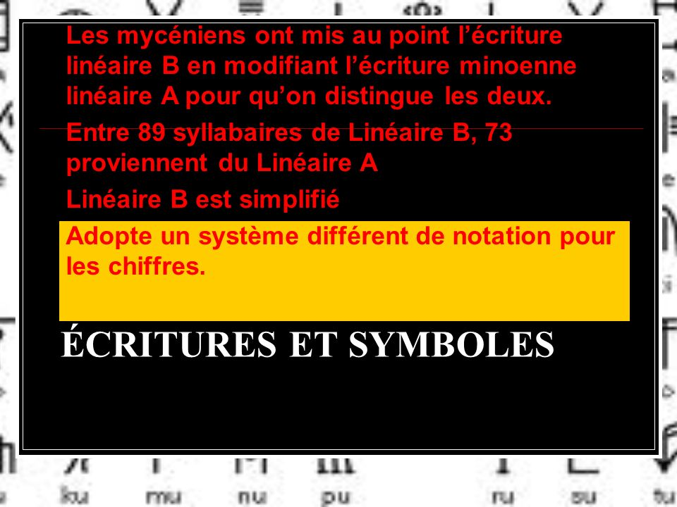 ÉCRITURES ET SYMBOLES Les mycéniens ont mis au point lécriture linéaire B en modifiant lécriture minoenne linéaire A pour quon distingue les deux.
