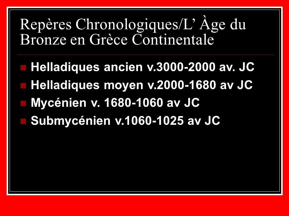 Repères Chronologiques/L Àge du Bronze en Grèce Continentale Helladiques ancien v.3000-2000 av.