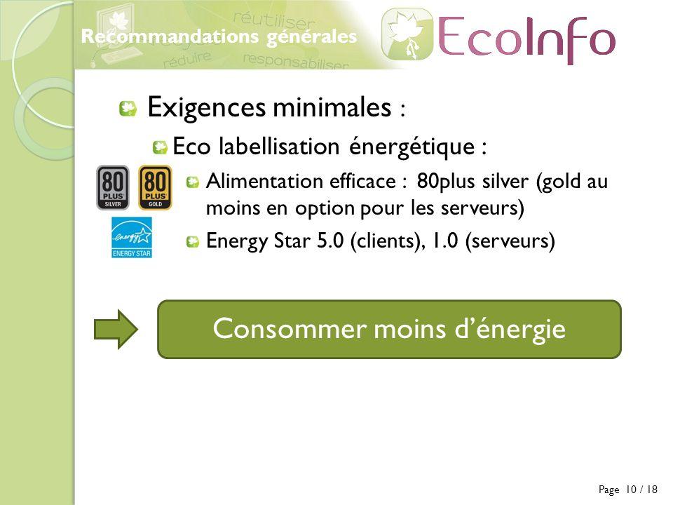 Recommandations générales Exigences minimales : Eco labellisation énergétique : Alimentation efficace : 80plus silver (gold au moins en option pour le