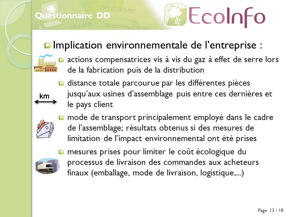 Questionnaire DD Page 13 / 18 Implication environnementale de lentreprise : actions compensatrices vis à vis du gaz à effet de serre lors de la fabric