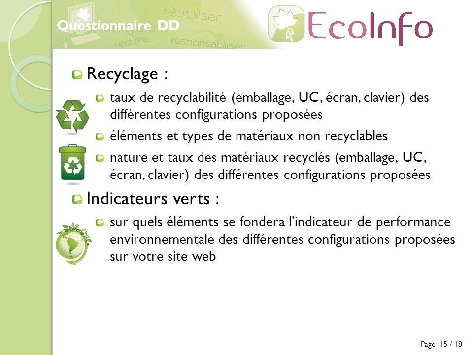 Questionnaire DD Page 15 / 18 Recyclage : taux de recyclabilité (emballage, UC, écran, clavier) des différentes configurations proposées éléments et t