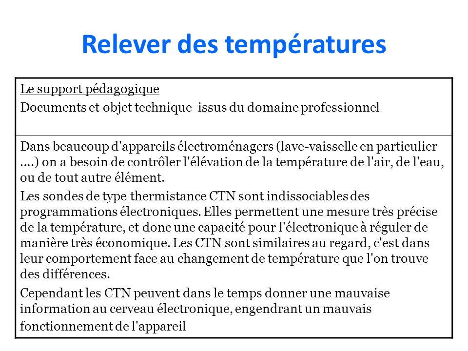 Relever des températures Le support pédagogique Documents et objet technique issus du domaine professionnel Dans beaucoup d'appareils électroménagers