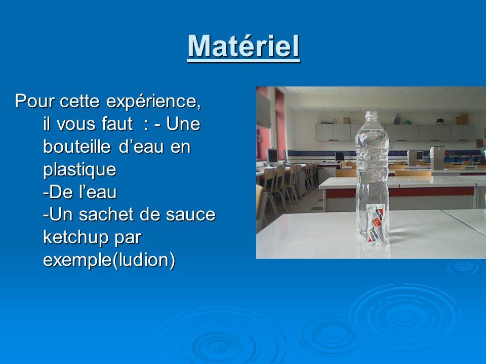 Matériel Pour cette expérience, il vous faut : - Une bouteille deau en plastique -De leau -Un sachet de sauce ketchup par exemple(ludion)