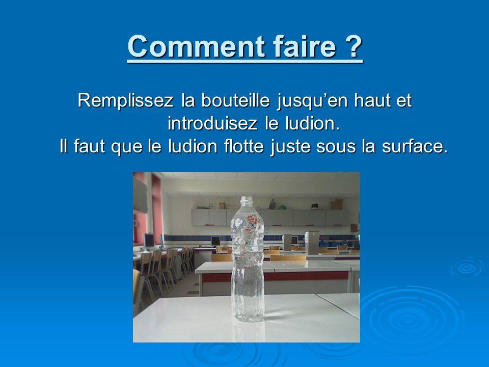 Comment faire ? Remplissez la bouteille jusquen haut et introduisez le ludion. Il faut que le ludion flotte juste sous la surface.