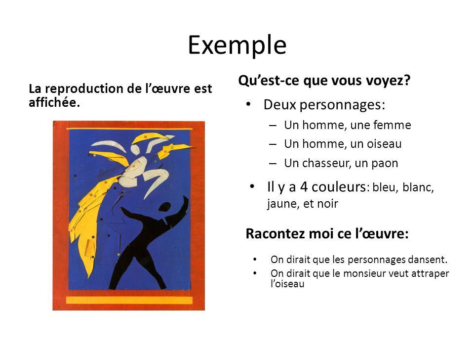 Exemple La reproduction de lœuvre est affichée. Quest-ce que vous voyez? Deux personnages: – Un homme, une femme – Un homme, un oiseau – Un chasseur,