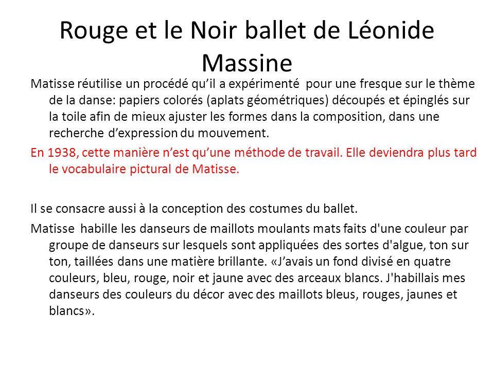 Rouge et le Noir ballet de Léonide Massine Matisse réutilise un procédé quil a expérimenté pour une fresque sur le thème de la danse: papiers colorés