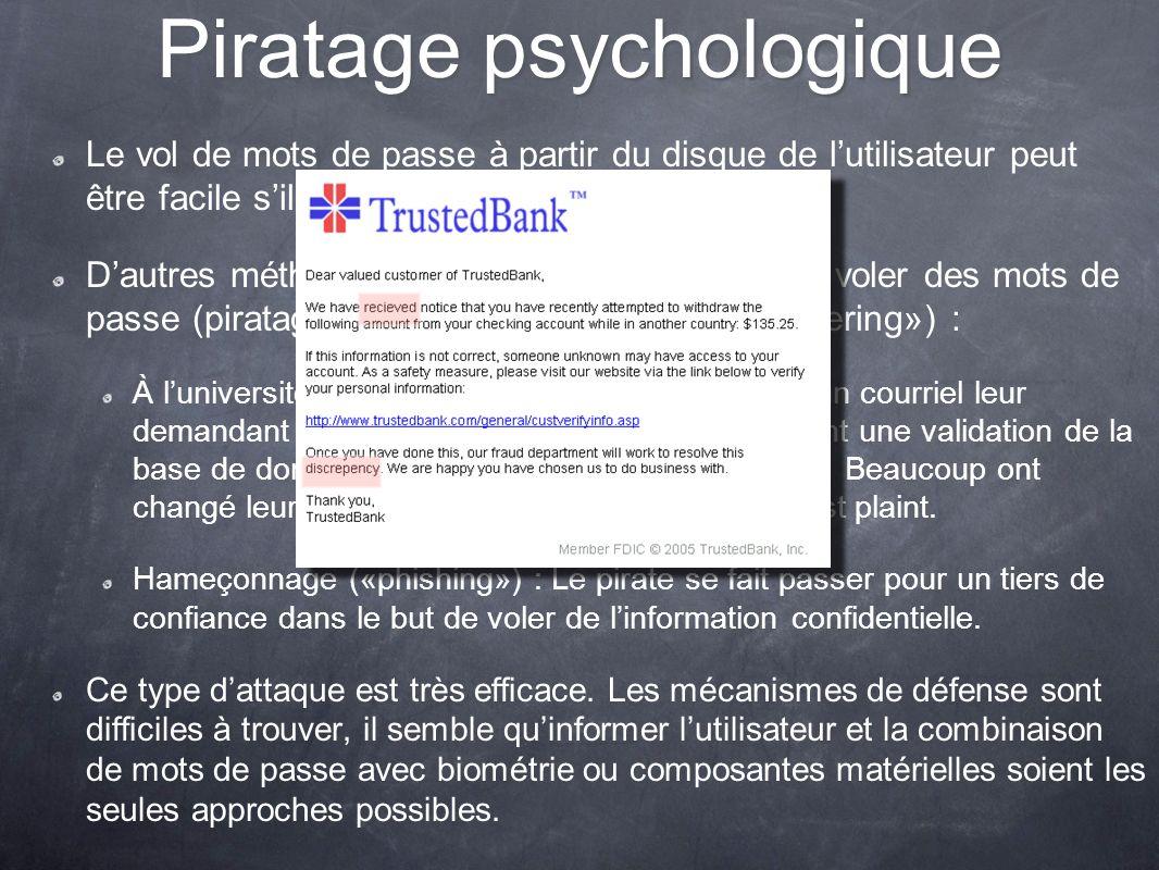 Piratage psychologique Le vol de mots de passe à partir du disque de lutilisateur peut être facile sil y apparaît en clair. Dautres méthodes peuvent ê
