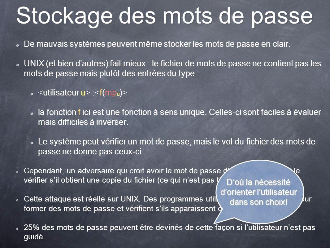 Stockage des mots de passe De mauvais systèmes peuvent même stocker les mots de passe en clair. UNIX (et bien dautres) fait mieux : le fichier de mots