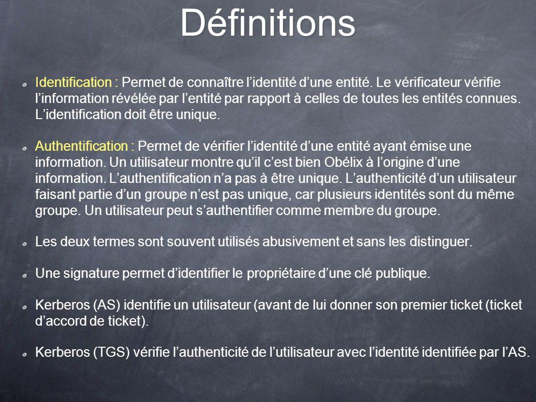 Définitions Identification : Permet de connaître lidentité dune entité. Le vérificateur vérifie linformation révélée par lentité par rapport à celles
