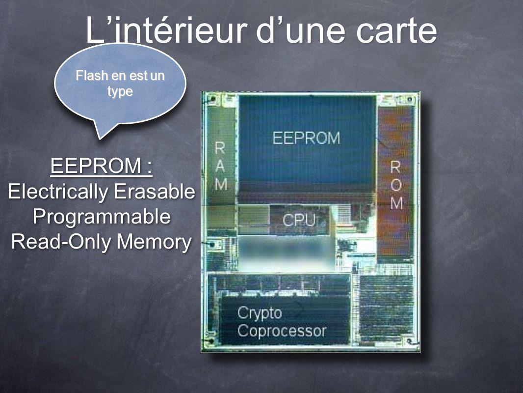 Lintérieur dune carte EEPROM : Electrically Erasable Programmable Read-Only Memory Flash en est un type