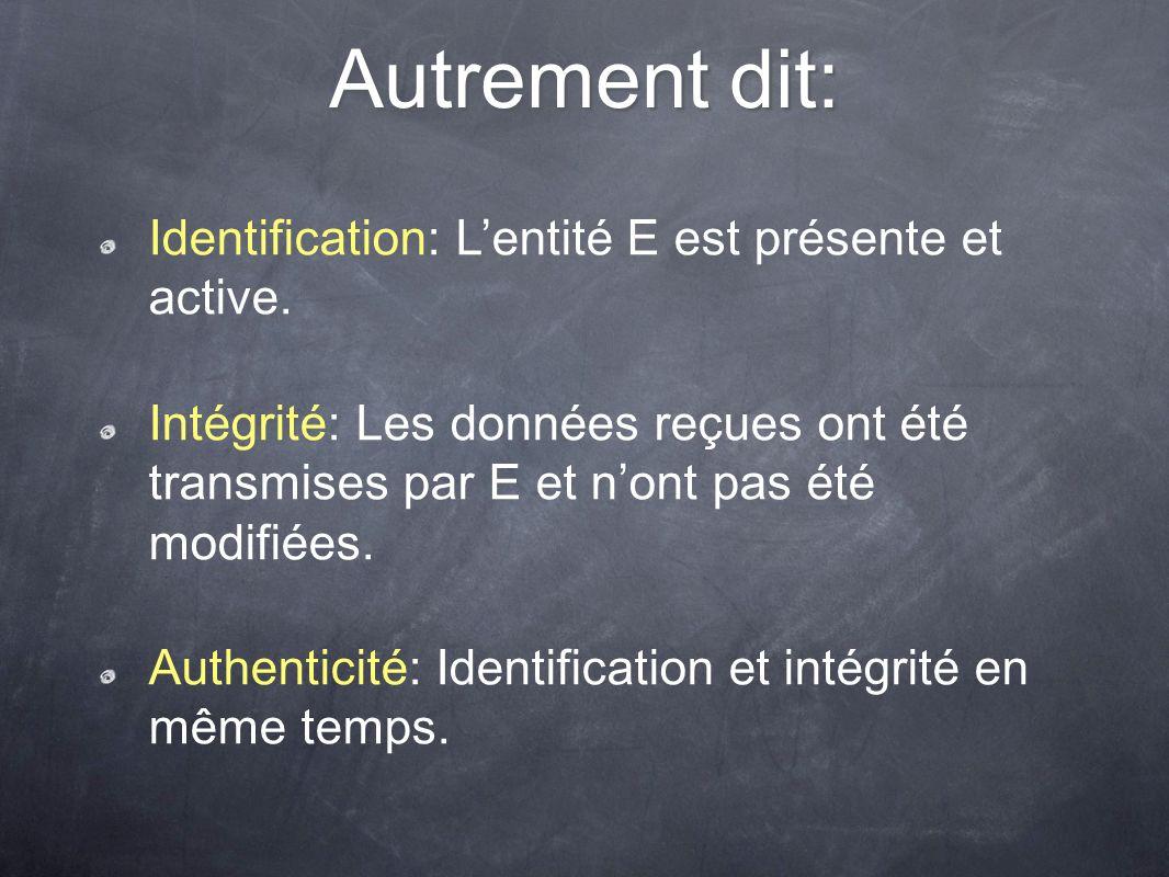 Autrement dit: Identification: Lentité E est présente et active. Intégrité: Les données reçues ont été transmises par E et nont pas été modifiées. Aut