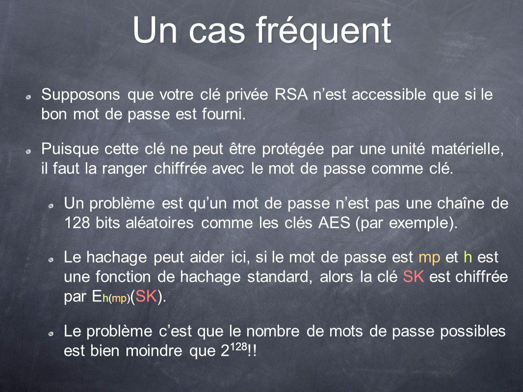 Un cas fréquent Supposons que votre clé privée RSA nest accessible que si le bon mot de passe est fourni. Puisque cette clé ne peut être protégée par