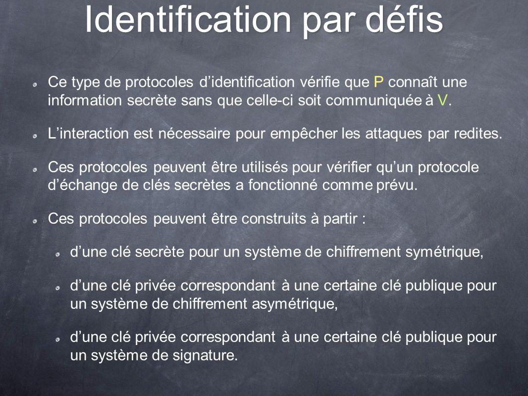 Identification par défis Ce type de protocoles didentification vérifie que P connaît une information secrète sans que celle-ci soit communiquée à V. L