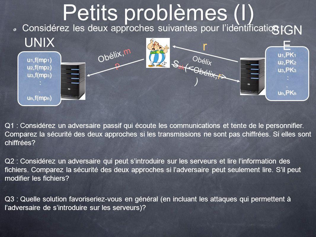 Petits problèmes (I) Considérez les deux approches suivantes pour lidentification : u 1,PK 1 u 2,PK 2 u 3,PK 3 :. u n,PK n SIGN E u 1,f(mp 1 ) u 2,f(m