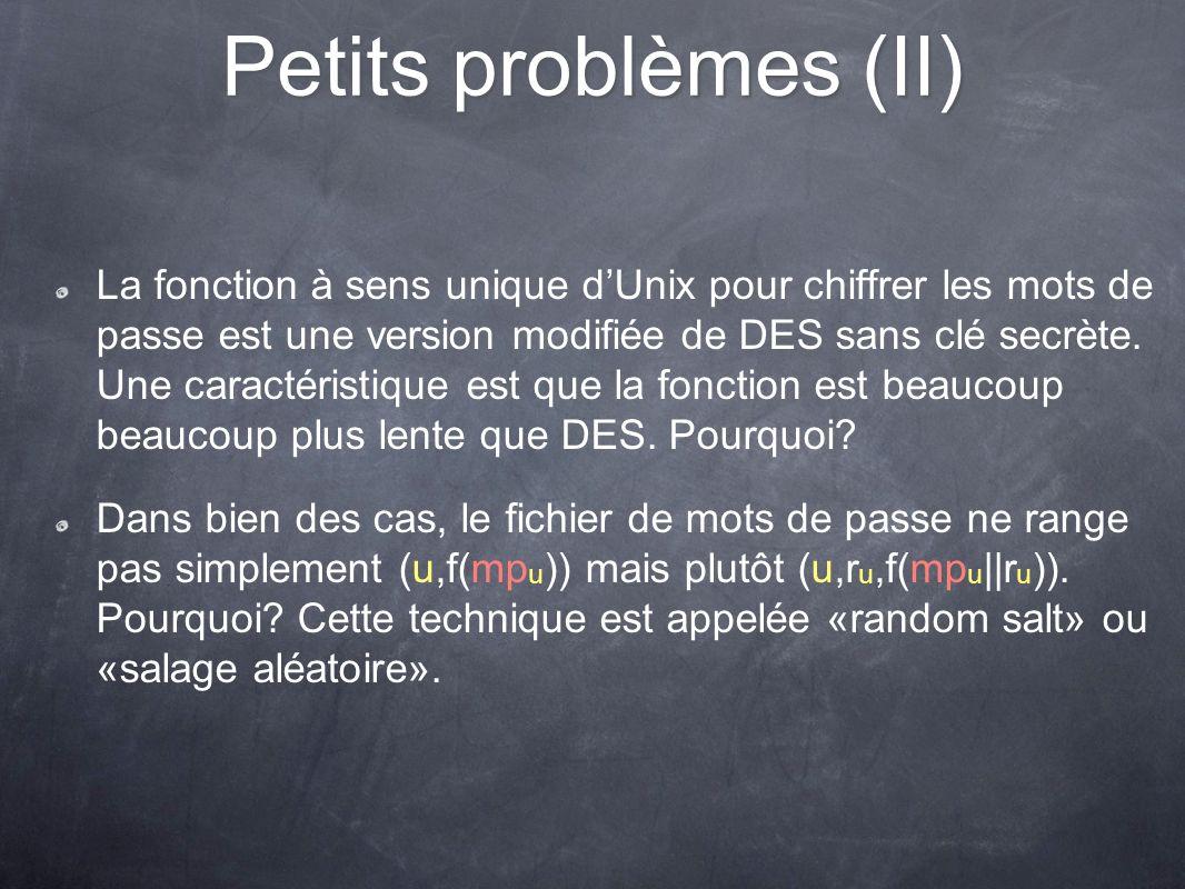 Petits problèmes (II) La fonction à sens unique dUnix pour chiffrer les mots de passe est une version modifiée de DES sans clé secrète. Une caractéris