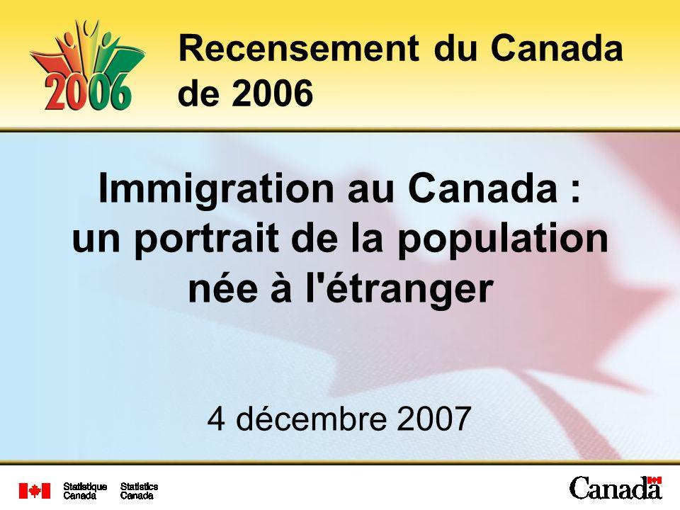 Immigration au Canada : un portrait de la population née à l étranger 4 décembre 2007 Recensement du Canada de 2006