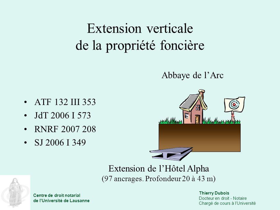 Thierry Dubois Docteur en droit - Notaire Chargé de cours à lUniversité Centre de droit notarial de lUniversité de Lausanne Extension verticale de la propriété foncière ATF 132 III 353 JdT 2006 I 573 RNRF 2007 208 SJ 2006 I 349 Abbaye de lArc Extension de lHôtel Alpha (97 ancrages.