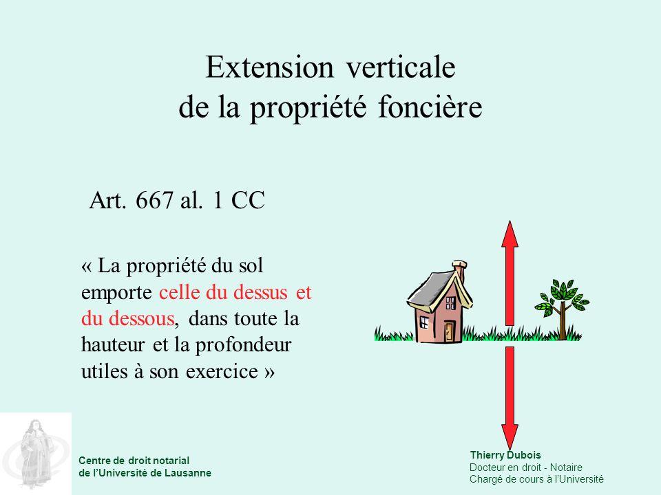 Thierry Dubois Docteur en droit - Notaire Chargé de cours à lUniversité Centre de droit notarial de lUniversité de Lausanne Extension verticale de la propriété foncière Art.