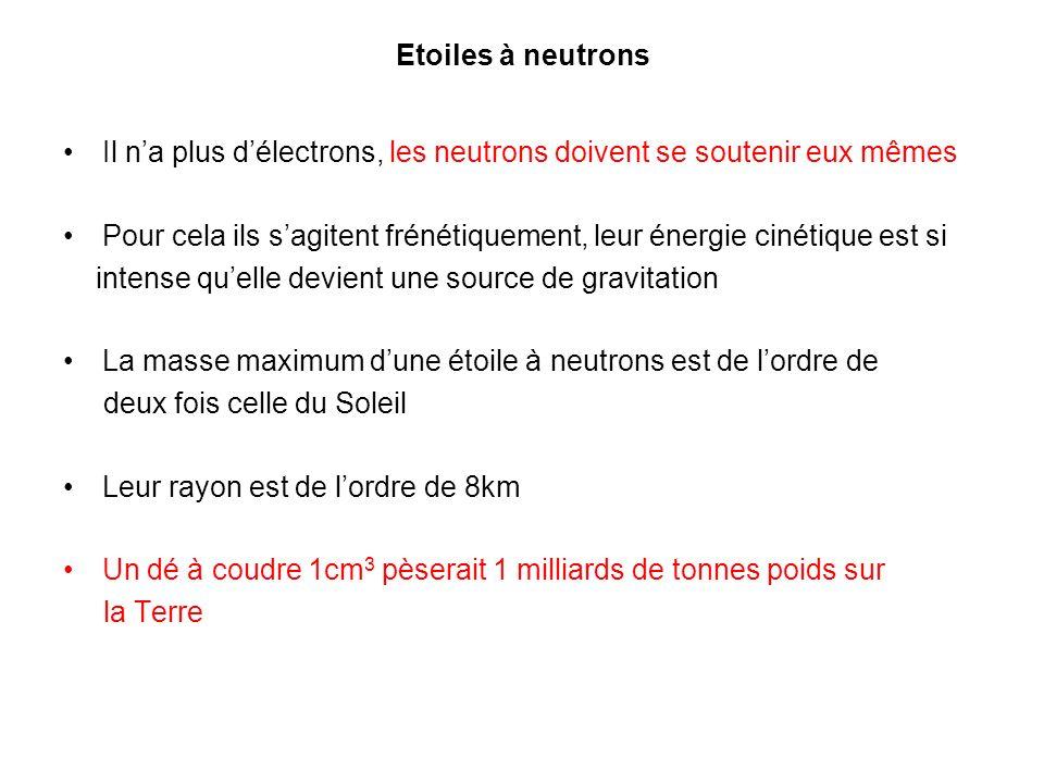 Etoiles à neutrons Il na plus délectrons, les neutrons doivent se soutenir eux mêmes Pour cela ils sagitent frénétiquement, leur énergie cinétique est