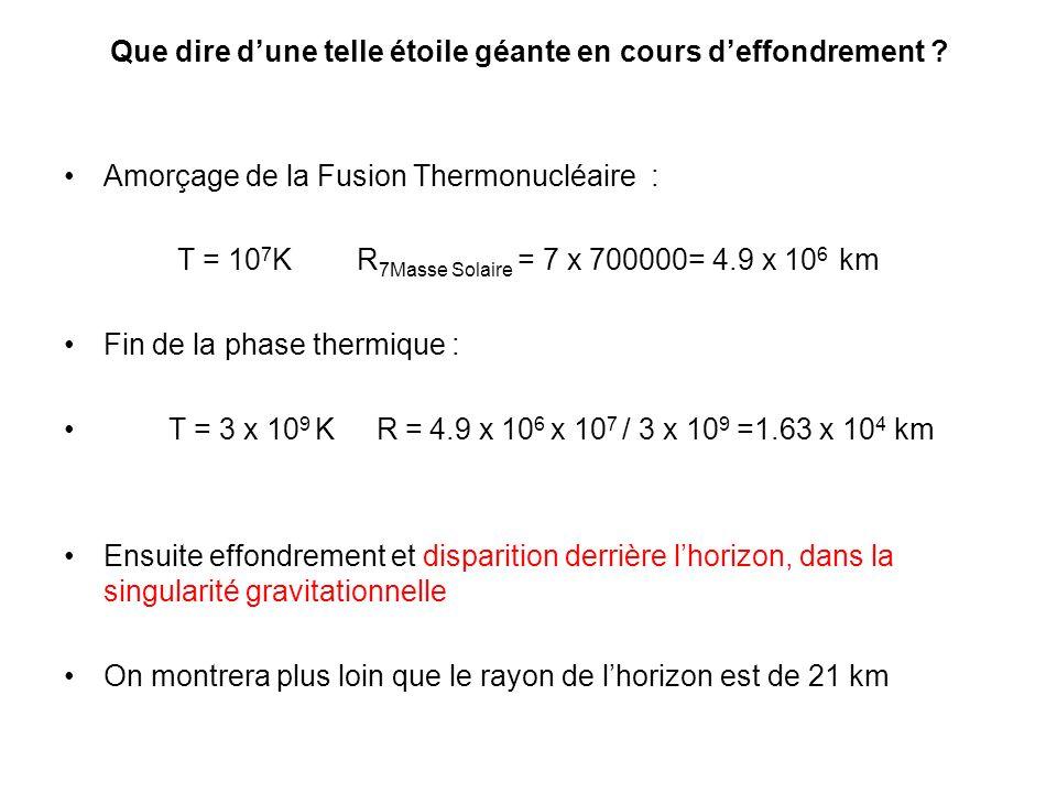 Que dire dune telle étoile géante en cours deffondrement ? Amorçage de la Fusion Thermonucléaire : T = 10 7 K R 7Masse Solaire = 7 x 700000= 4.9 x 10