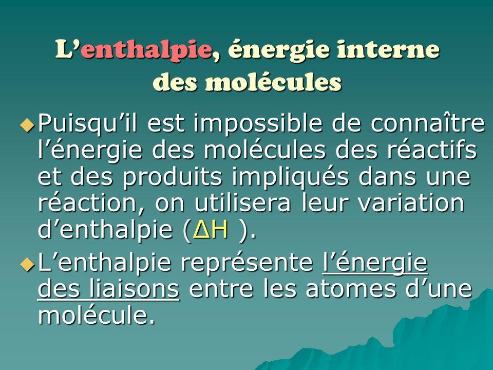 Pour la suite des diapositives, vous verrez le terme ENTHALPIE à plusieurs occasions. Il sagit dun synonyme au mot ÉNERGIE lorsquon parle de lénergie