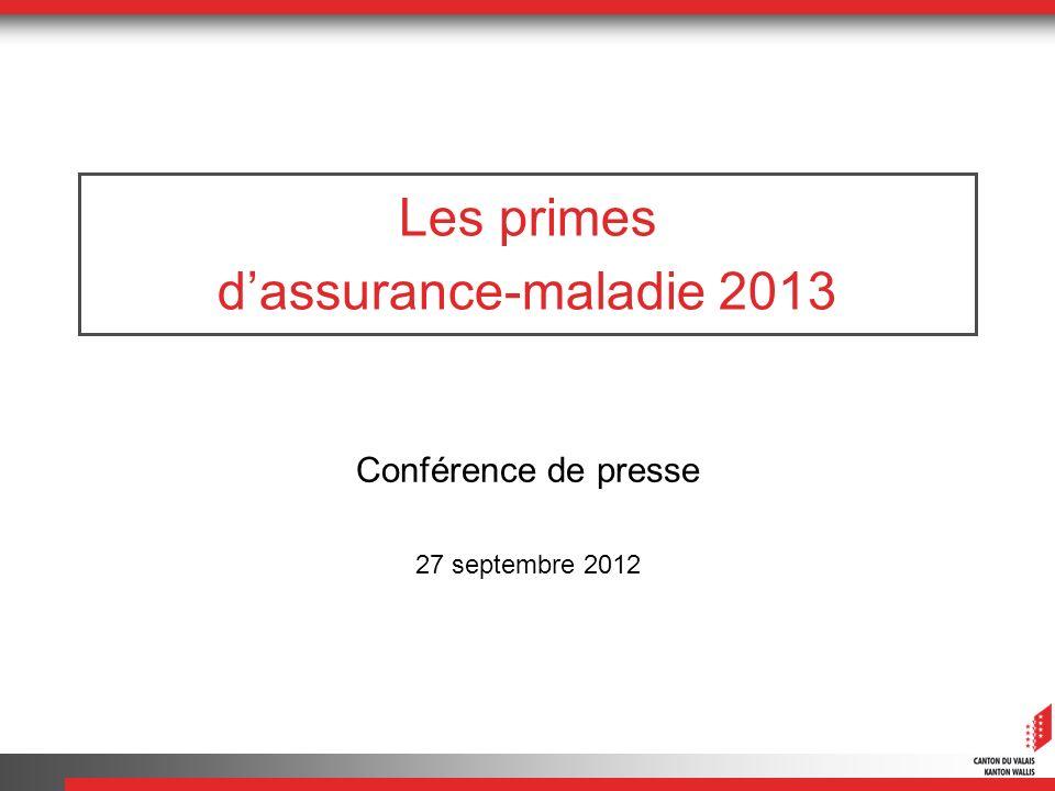 Les primes dassurance-maladie 2013 Conférence de presse 27 septembre 2012