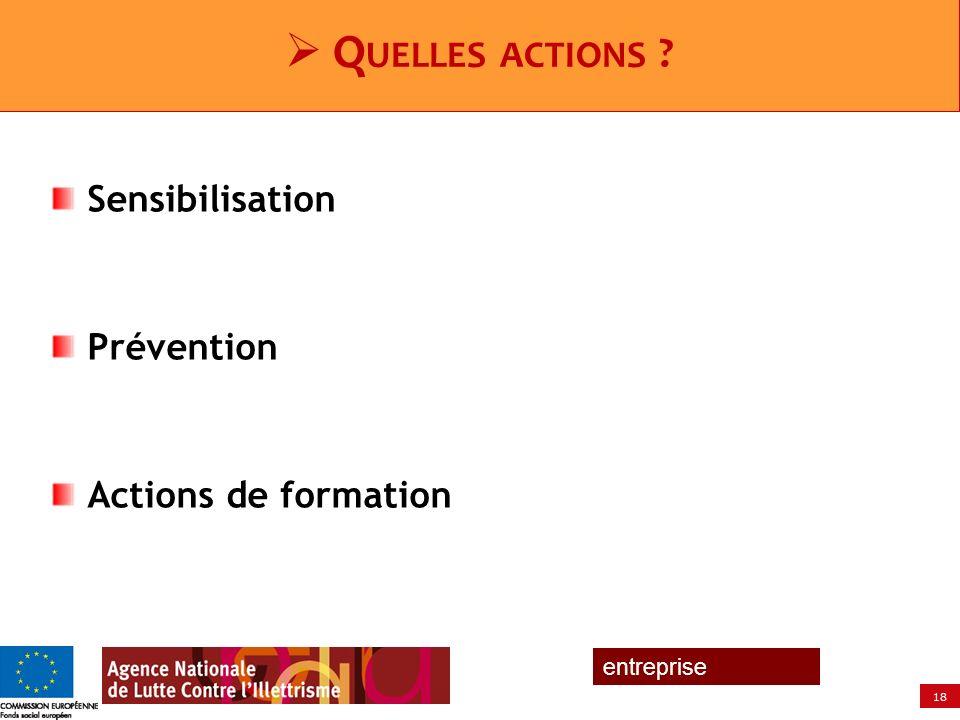 18 entreprise Sensibilisation Prévention Actions de formation Q UELLES ACTIONS ?