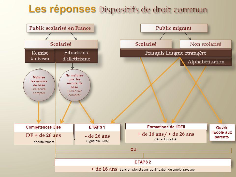 Public scolarisé en France Remise à niveau Maîtrise les savoirs de base Lire/écrire/ compter Formations de lOFII Situations dillettrisme ETAPS 2 Scola