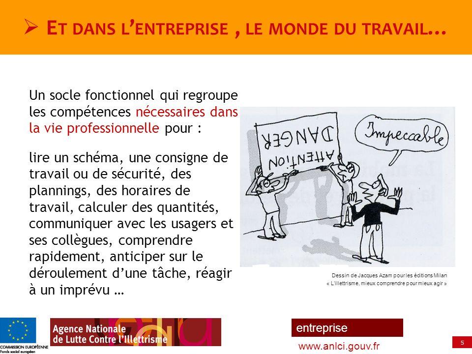 5 entreprise www.anlci.gouv.fr E T DANS L ENTREPRISE, LE MONDE DU TRAVAIL … Un socle fonctionnel qui regroupe les compétences nécessaires dans la vie