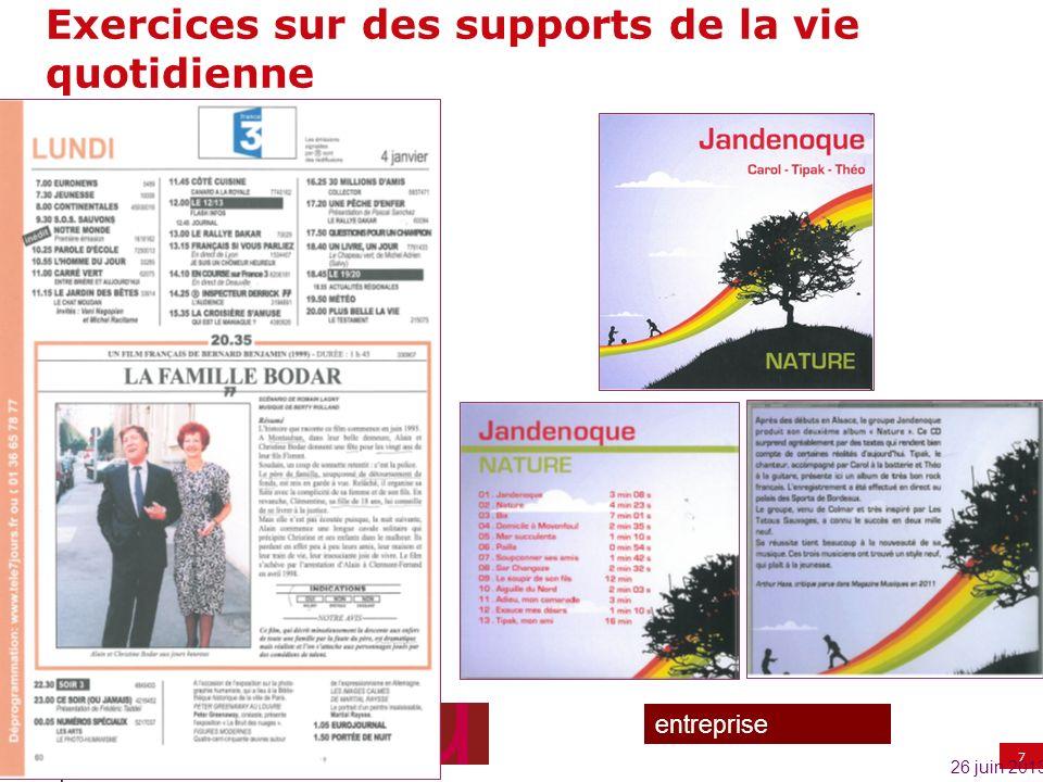 7 entreprise Exercices sur des supports de la vie quotidienne 26 juin 2013