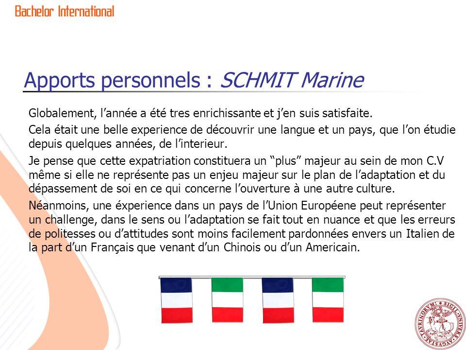 Apports personnels : SCHMIT Marine Globalement, lannée a été tres enrichissante et jen suis satisfaite. Cela était une belle experience de découvrir u