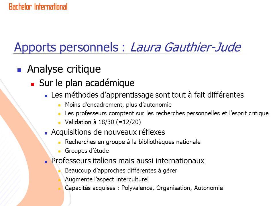 Apports personnels : Laura Gauthier-Jude Analyse critique Sur le plan académique Les méthodes dapprentissage sont tout à fait différentes Moins dencad