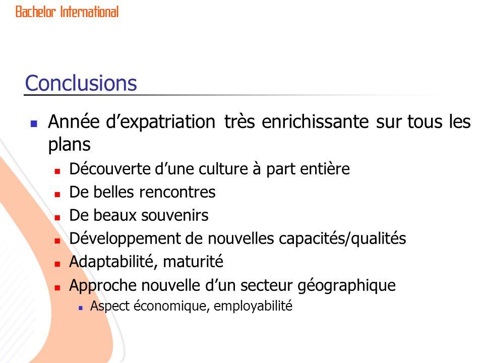 Conclusions Année dexpatriation très enrichissante sur tous les plans Découverte dune culture à part entière De belles rencontres De beaux souvenirs D