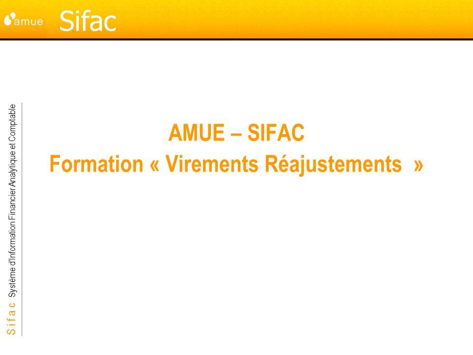 S i f a c Système dInformation Financier Analytique et Comptable Sifac AMUE – SIFAC Formation « Virements Réajustements »