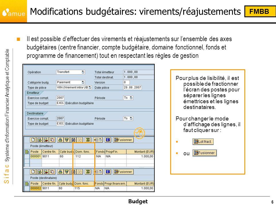 S i f a c Système dInformation Financier Analytique et Comptable Budget 6 Modifications budgétaires: virements/réajustements Il est possible deffectue
