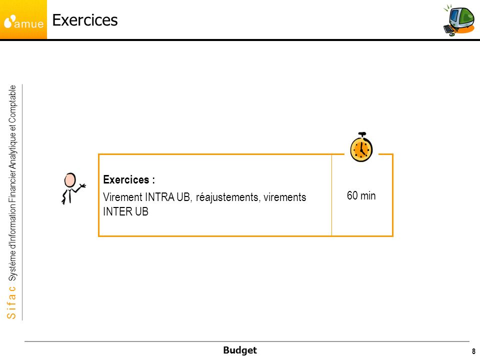 S i f a c Système dInformation Financier Analytique et Comptable Budget 8 Exercices 60 min Exercices : Virement INTRA UB, réajustements, virements INT
