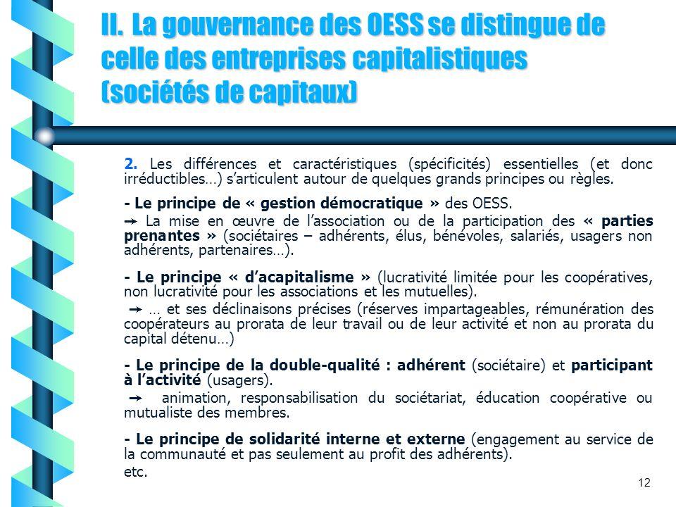 II. La gouvernance des OESS se distingue de celle des entreprises capitalistiques (sociétés de capitaux) 2. Les différences et caractéristiques (spéci