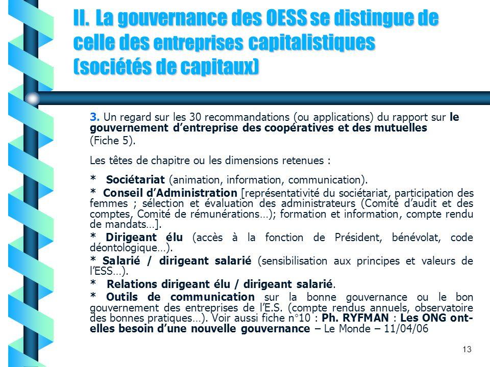 II. La gouvernance des OESS se distingue de celle des entreprises capitalistiques (sociétés de capitaux) 3. Un regard sur les 30 recommandations (ou a