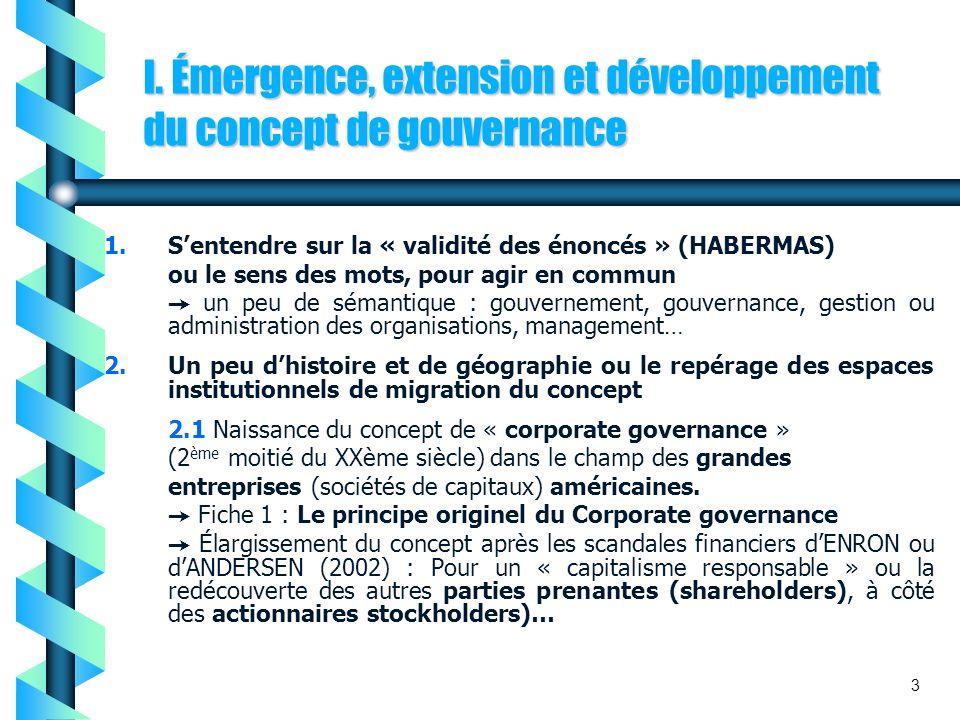 I. Émergence, extension et développement du concept de gouvernance 1.Sentendre sur la « validité des énoncés » (HABERMAS) ou le sens des mots, pour ag