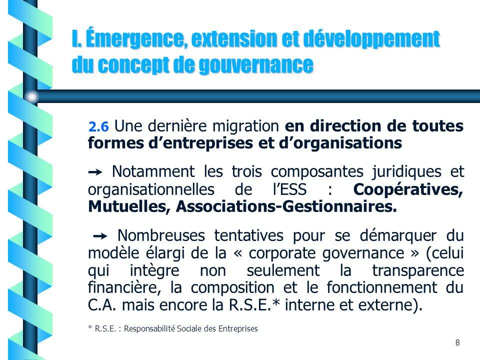 I. Émergence, extension et développement du concept de gouvernance 2.6 Une dernière migration en direction de toutes formes dentreprises et dorganisat