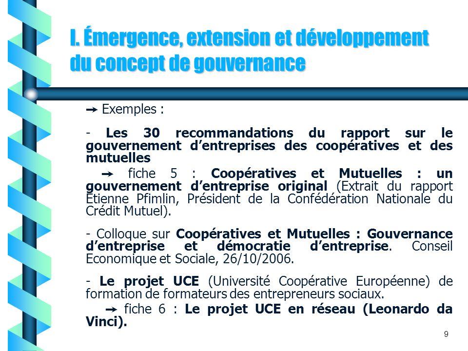 I. Émergence, extension et développement du concept de gouvernance Exemples : - Les 30 recommandations du rapport sur le gouvernement dentreprises des