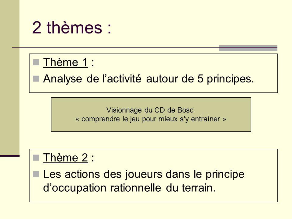 2 thèmes : Thème 1 : Analyse de lactivité autour de 5 principes. Visionnage du CD de Bosc « comprendre le jeu pour mieux sy entraîner » Thème 2 : Les