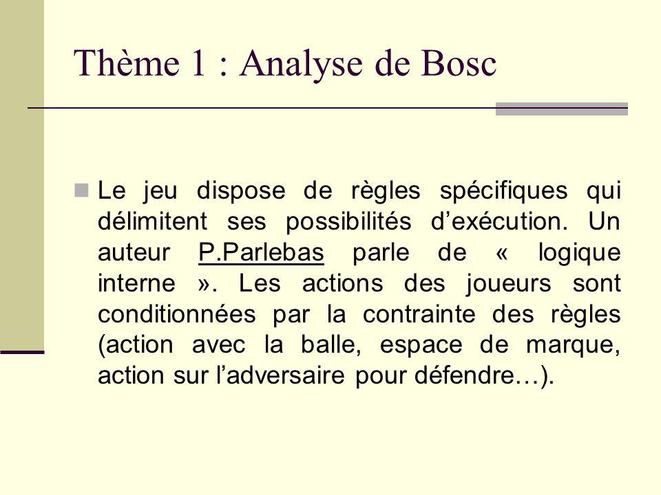 Thème 1 : Analyse de Bosc Le jeu dispose de règles spécifiques qui délimitent ses possibilités dexécution. Un auteur P.Parlebas parle de « logique int