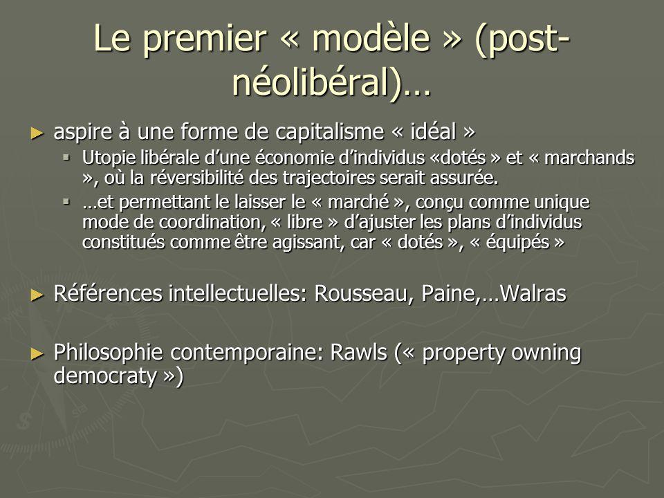 Le premier « modèle » (post- néolibéral)… aspire à une forme de capitalisme « idéal » aspire à une forme de capitalisme « idéal » Utopie libérale dune économie dindividus «dotés » et « marchands », où la réversibilité des trajectoires serait assurée.