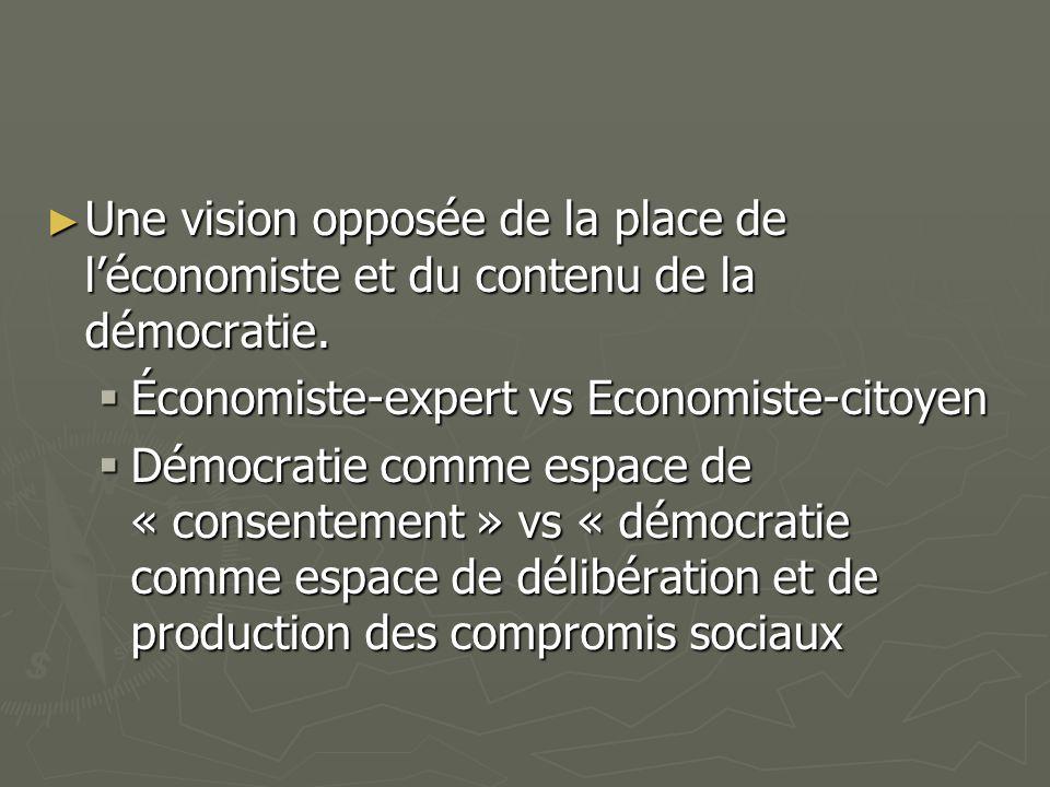 Une vision opposée de la place de léconomiste et du contenu de la démocratie.