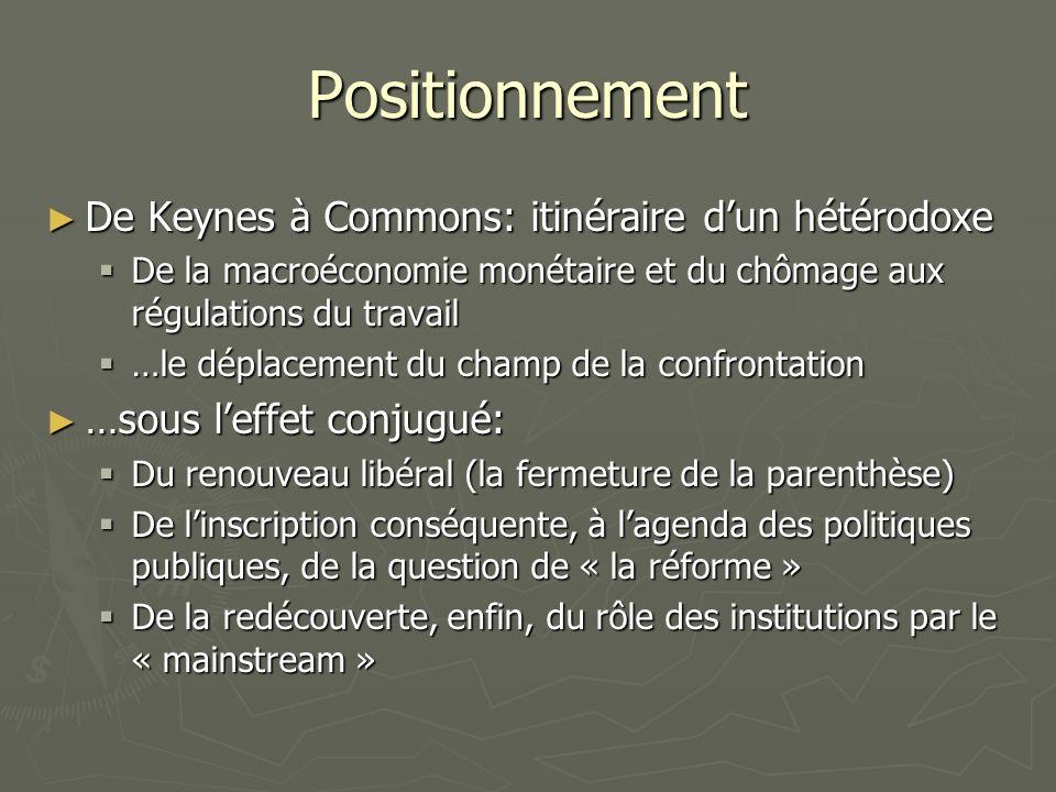 Positionnement De Keynes à Commons: itinéraire dun hétérodoxe De Keynes à Commons: itinéraire dun hétérodoxe De la macroéconomie monétaire et du chômage aux régulations du travail De la macroéconomie monétaire et du chômage aux régulations du travail …le déplacement du champ de la confrontation …le déplacement du champ de la confrontation …sous leffet conjugué: …sous leffet conjugué: Du renouveau libéral (la fermeture de la parenthèse) Du renouveau libéral (la fermeture de la parenthèse) De linscription conséquente, à lagenda des politiques publiques, de la question de « la réforme » De linscription conséquente, à lagenda des politiques publiques, de la question de « la réforme » De la redécouverte, enfin, du rôle des institutions par le « mainstream » De la redécouverte, enfin, du rôle des institutions par le « mainstream »